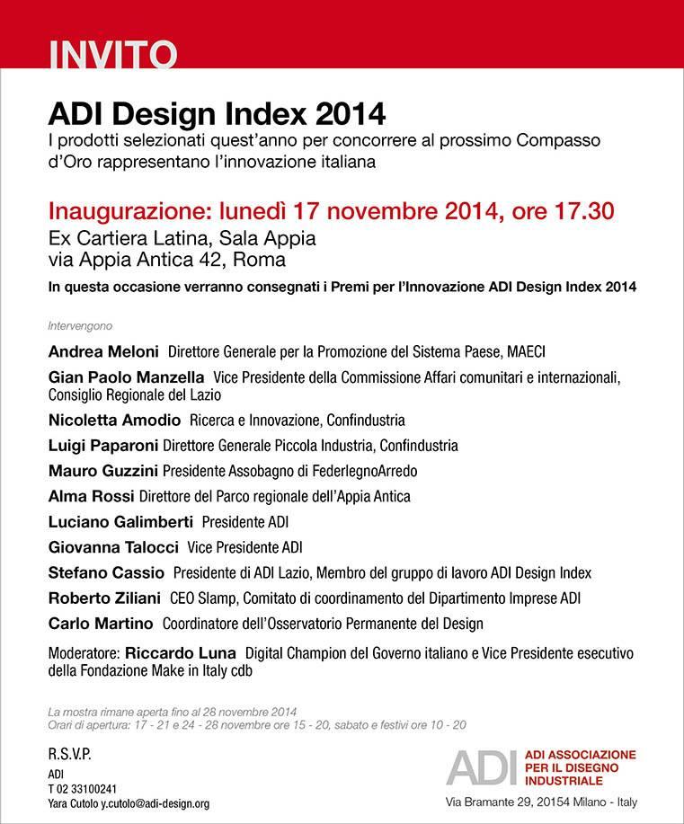 adi design index 2014 | la mostra si trasferisce a roma
